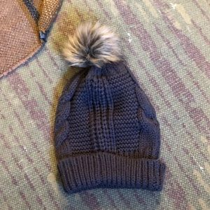 Accessories - Chunky Knit Dark Gray Beanie with faux Fur Pom